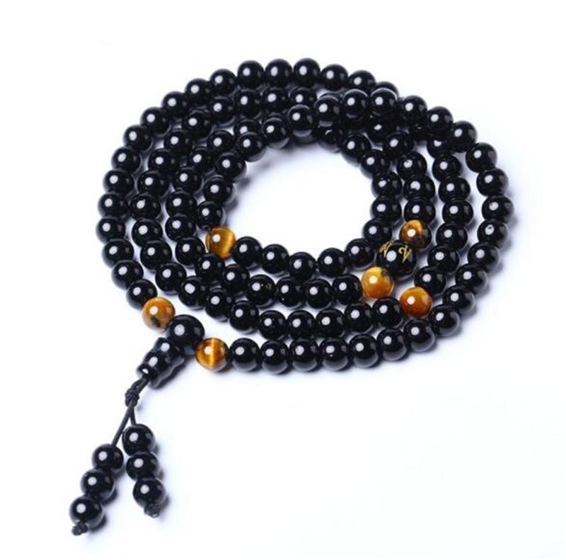 Obsidian circle around 108 six-word motto Buddha bead bracelet for lovers and lovers crystal wholesale