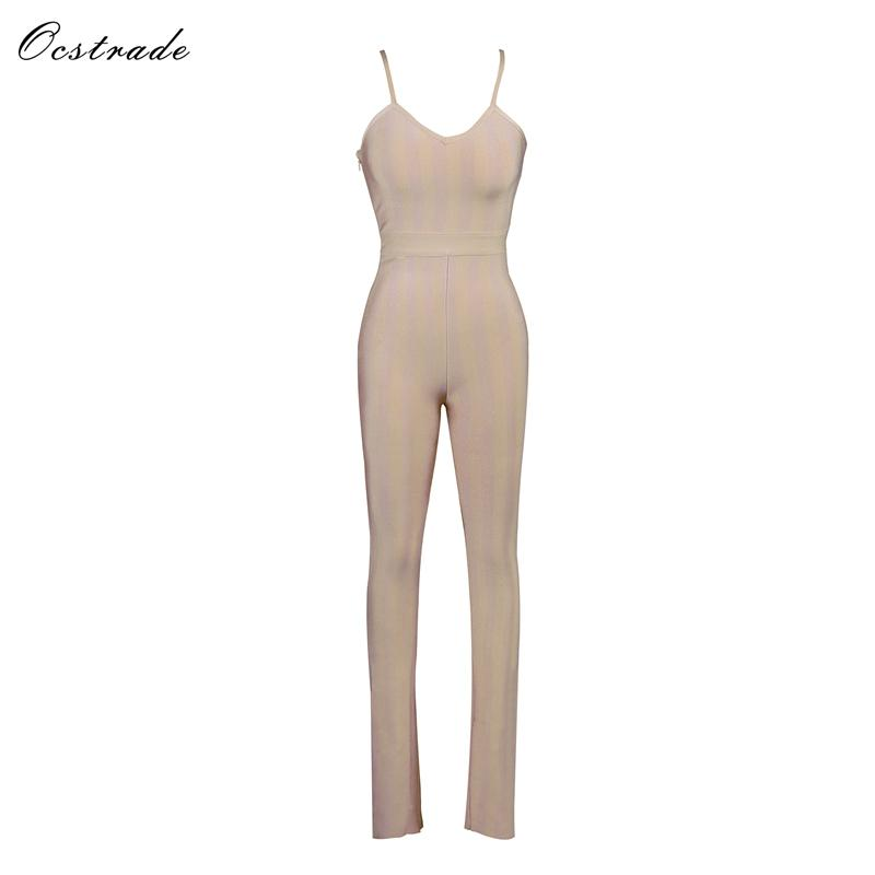 Ocstrade Bandage Jumpsuit 2018 Summer New Arrival Rayon High Quality Pale Pink Strappy V-neck Striped Sexy Bodycon Jumpsuit