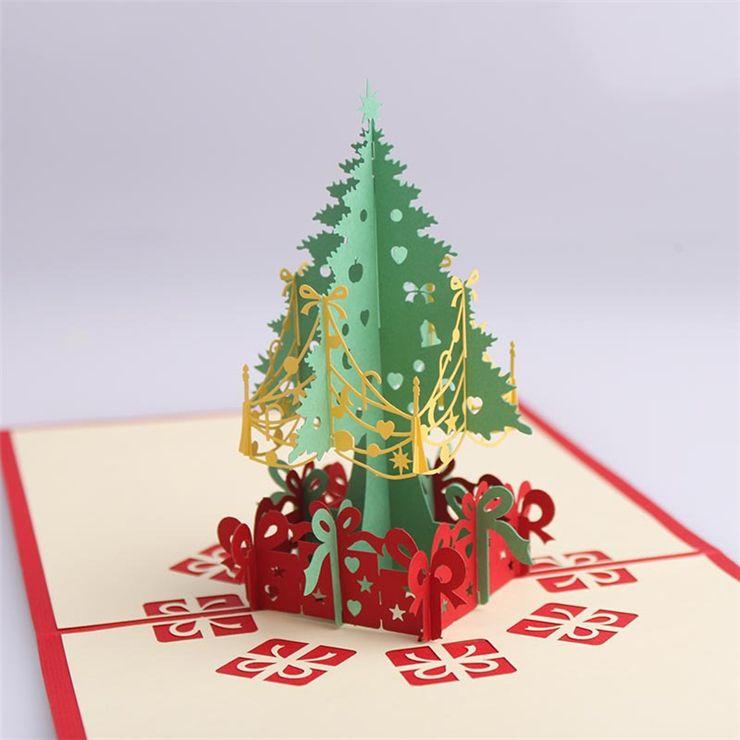 Christmas Bday Cards.Handmade 2 Design Christmas Greeting Cards 3d Pop Up Christmas Tree Greeting Card Postcards Xmas Gift Vintage Retro Pierced Post Card