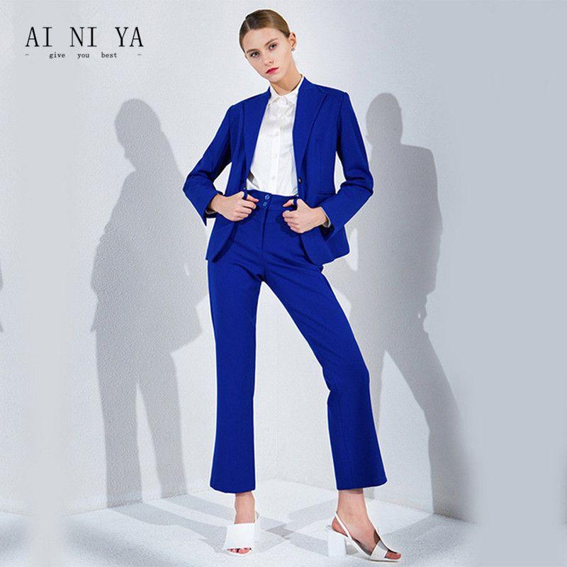 1a3c8833e5852 Royal Blue Pant Suits Women Casual Office Business Suits Formal Work Wear  Office Uniform Styles ElePant Suits Custom