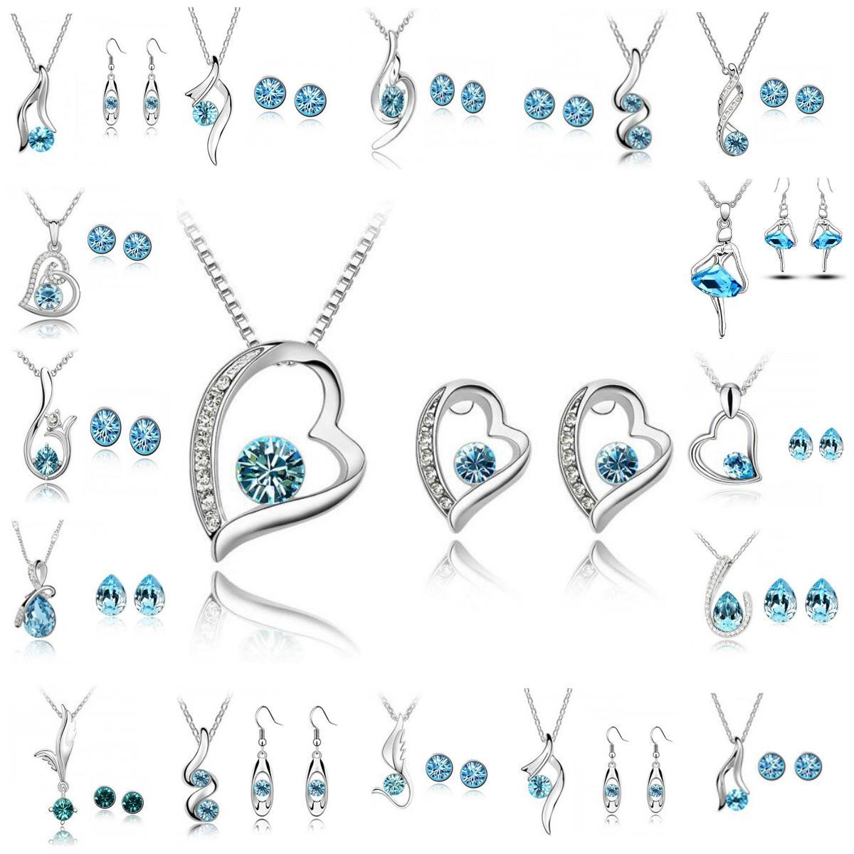 cc630af63df5 Conjunto de joyas de dama de honor Aretes de boda Joyas de cristal de  swarovski Collar largo Juego de regalo Conjunto de joyas de la joyería  india ...