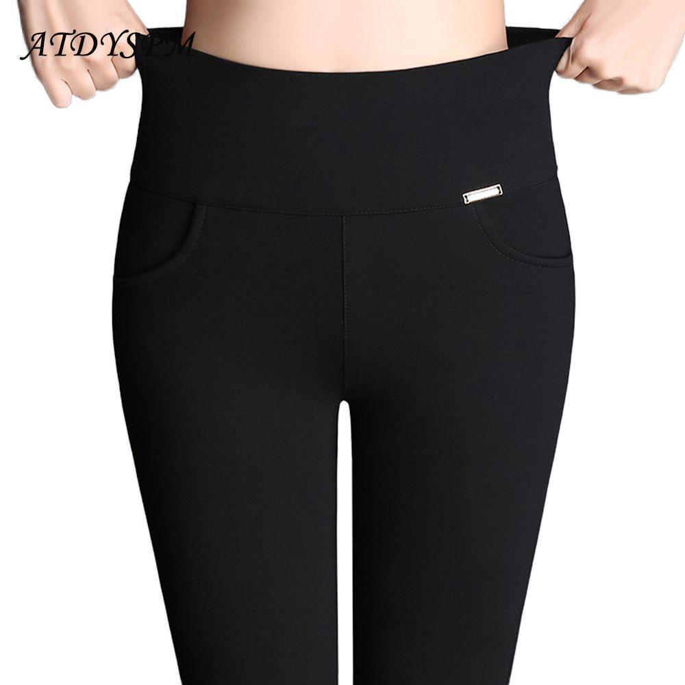 dc40a92439c917 2019 Women Office Work Pants Leggings Ladies Plus Size 6XL High Stretch Pencil  Pants Candy Color Female High Waist Pants Trousers S18101606 From  Junlong02, ...