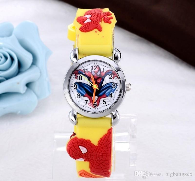 Watches 3d Rubber Strap Children Watch Kids Spider Shape Fashion Quartz Blue Wristband Boys Girls Students 2018 New Cartoon Sports Clock