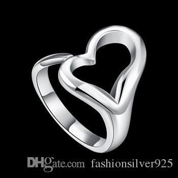 Groothandel - - retail laagste prijs kerstcadeau 925 zilveren ringen opening hart ringen Europa en zilveren hartvormige ring ornamenten R009