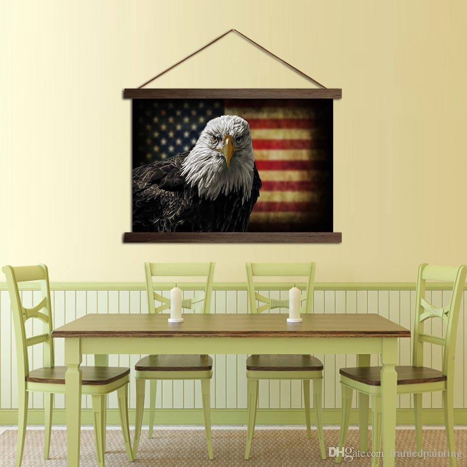 Canvas HD Prints Poster For Interior Home Decor American Flag Eagle Paintings With Solid Wood Hanging Scroll Pictures Wall Art