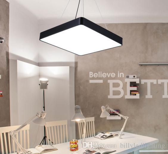 Led Lumière Moderne Mode Noir Vêtements Fabricant Shopping Logement Lampe Carré Suspension Chine Pendentif Hang Store Blanc F1cKJl