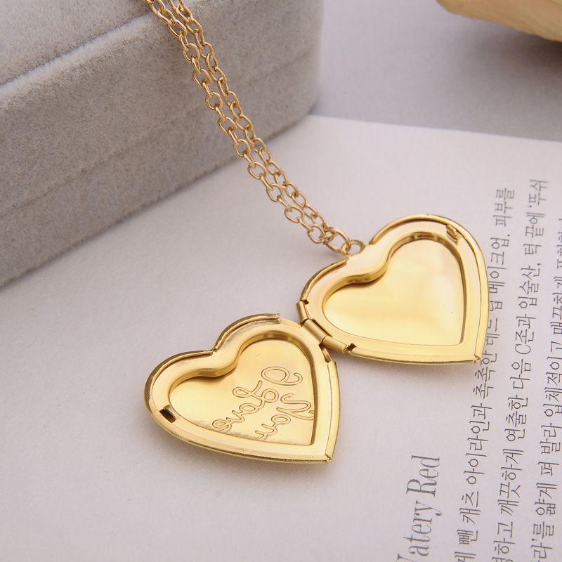 """""""I love you"""" Carved DIY Love Heart Secret Message Locket Necklace Pendant Vintage Gift For Lover Couples"""
