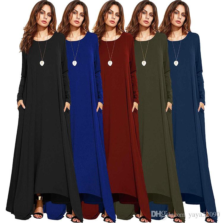 656e6736ac4 Women Casual Dresses Spring Autumn False Long Sleeve Round Neck Loose Plus  Size Irregular Dresses Cotton Linen Ankle Length Maxi Dress DHL Teen Party  ...