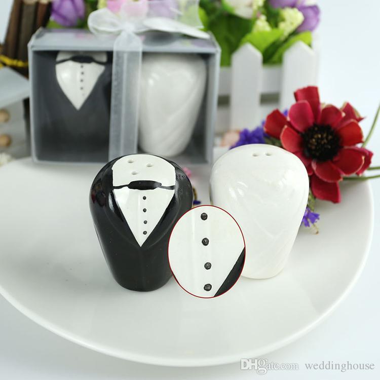 الجملة FEIS العروس والعريس السيراميك الملح والفلفل الهزازات تفضل الزفاف والهدايا المطبخ سيون