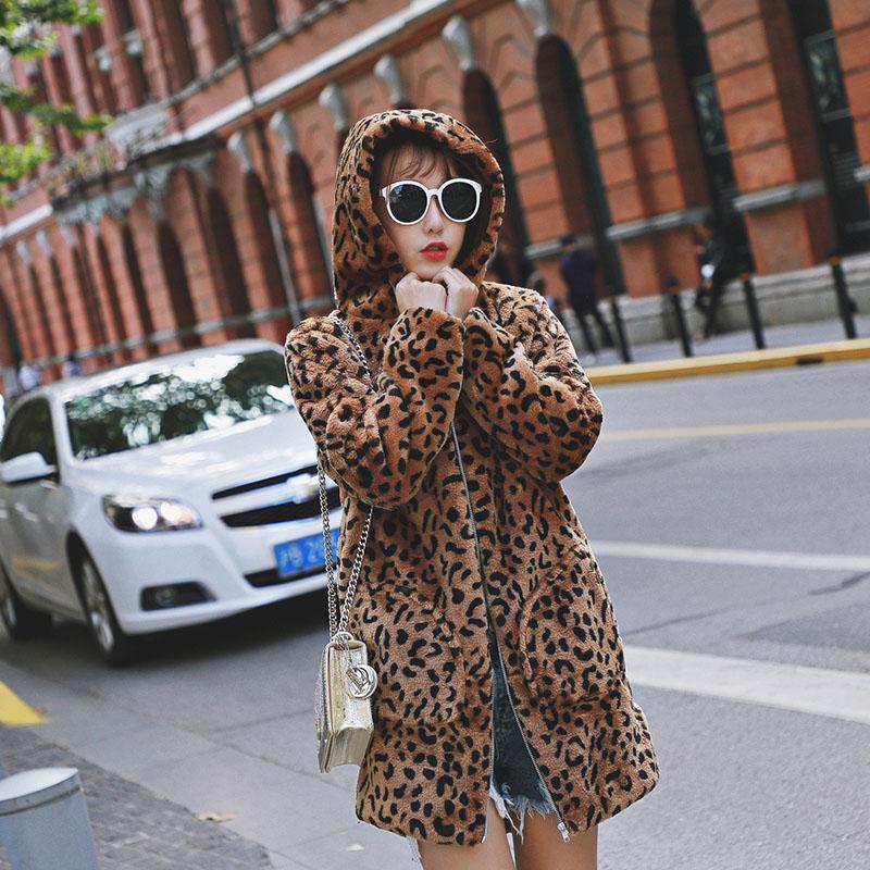 588f07f33d Faux Fur Winter Leopard Print Coat Outwerwear Women Hooded Autumn Winter Plus  Size 4XL Thick Warm Long Hooded Faux Fur Coat UK 2019 From Cupidcloth