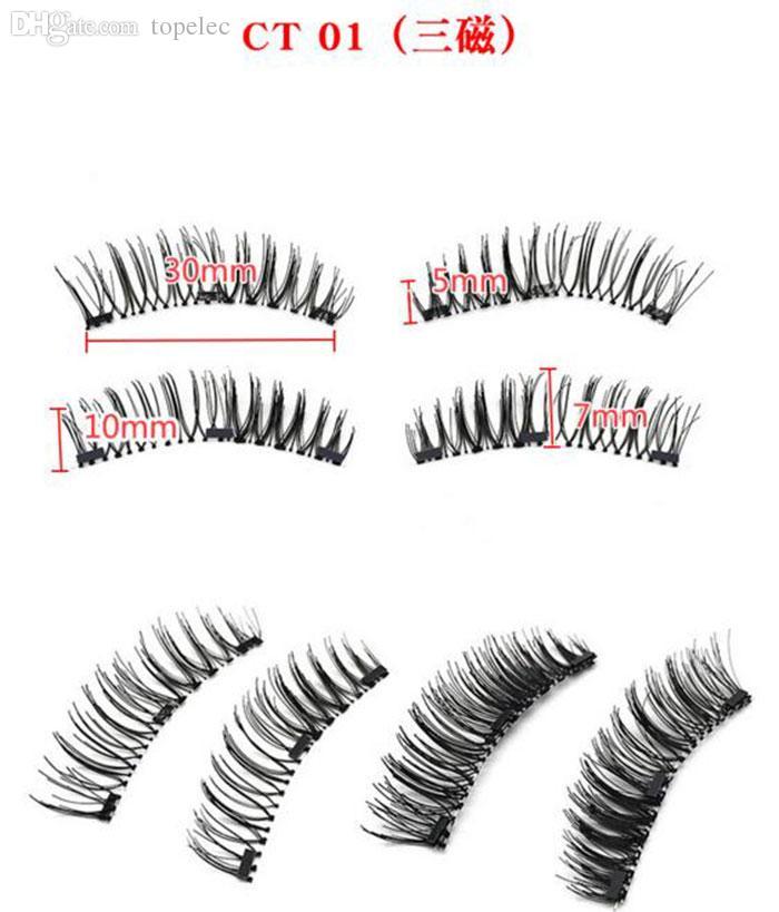 Высокое качество Три магнита 3D магнитные накладные ресницы природных ручной работы 3 магнитные накладные ресницы Ресницы красоты макияж аксессуары