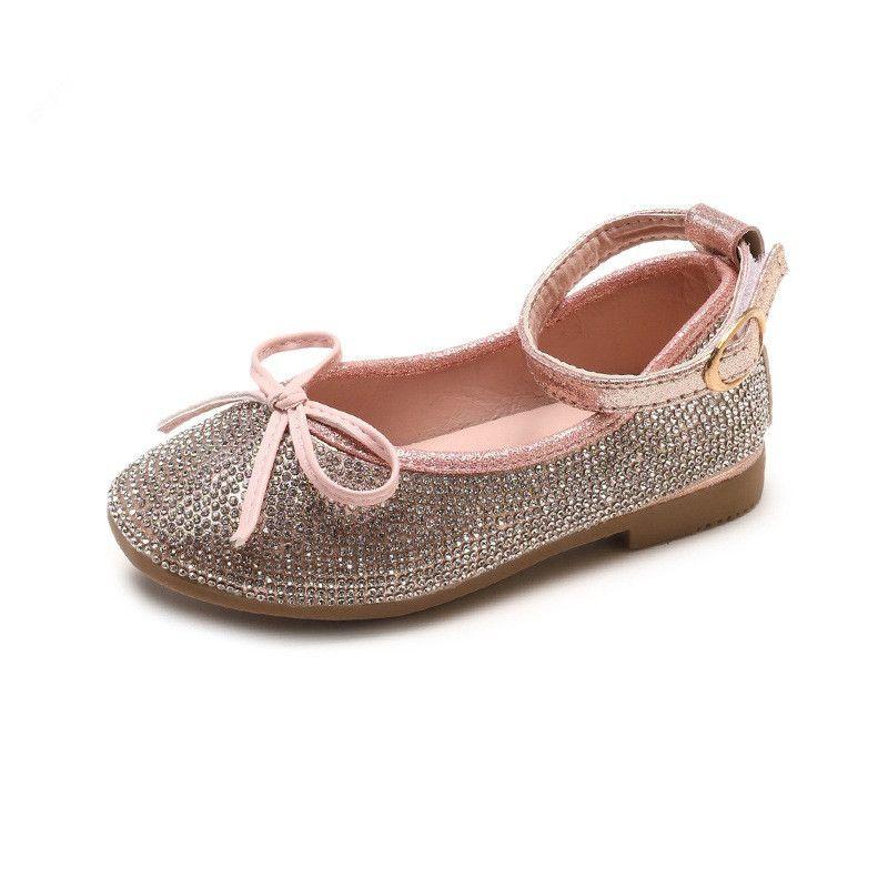 9d09c2f0b5 Scarpe da bambino a buon mercato all'ingrosso zircone cristallo principessa  abito scarpe bambini primavera autunno moda in pelle scarpe arco bambini ...