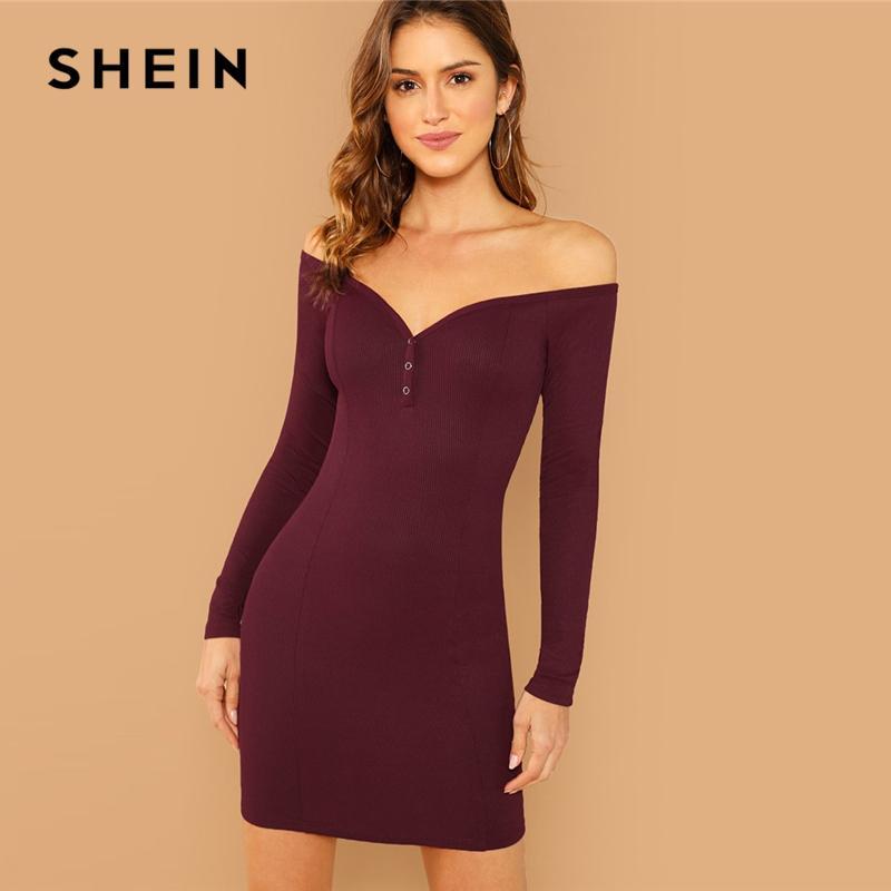 541ce3ffdb2c SHEIN Burgundy Form Fitting Buttoned Bardot Off The Shoulder Bodycon Slim  Plain Dress Women Autumn Elegant Casual Dresses Knit Sundresses Dressing Style  For ...