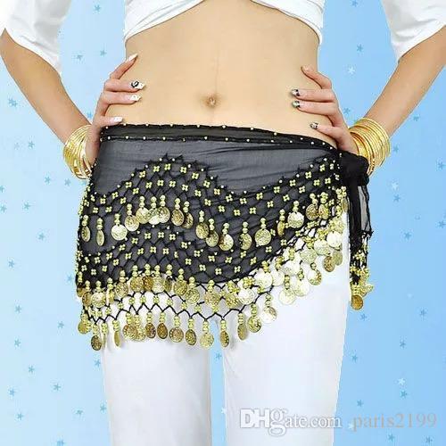 2018 nuevas ventas en caliente 3 filas con monedas Belly Egypt Dance Hip Falda Bufanda Wrap Belt Costume Stage Wear Bufandas