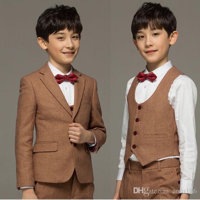 31deb3a42d9 Blue children gentleman dress children wedding flower girl dress boy  graduation ceremony formal dress boy suit three-piece suit (coat + pant
