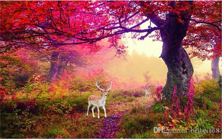 Пользовательские фото обои наклейки Северные цветы лось олень лес ТВ фон настенные фрески дизайн papel де parede