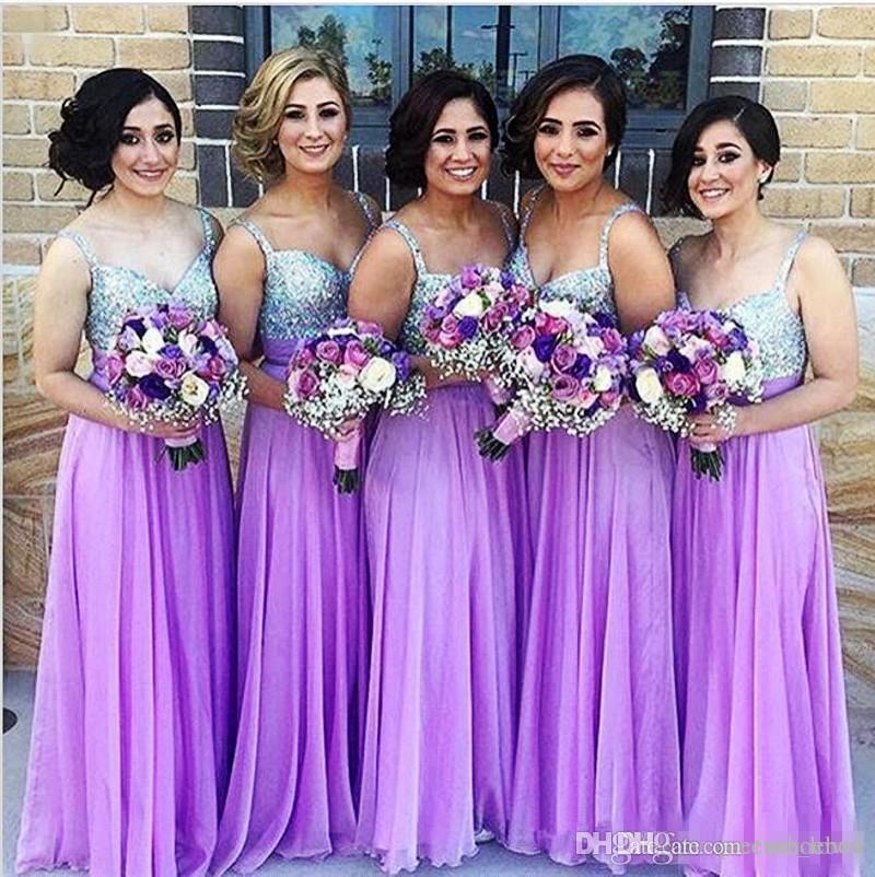 Compre Vestidos De Dama De Honor De Color Púrpura 2018 Una Línea De ...