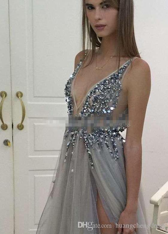 Paolo Sebastian 2019 Sexy Cristal Frisado Profundo Decote Em V Vestidos de Baile Longo Modest Backless Side Dividir Até O Chão Formal Vestidos de Festa EN12016