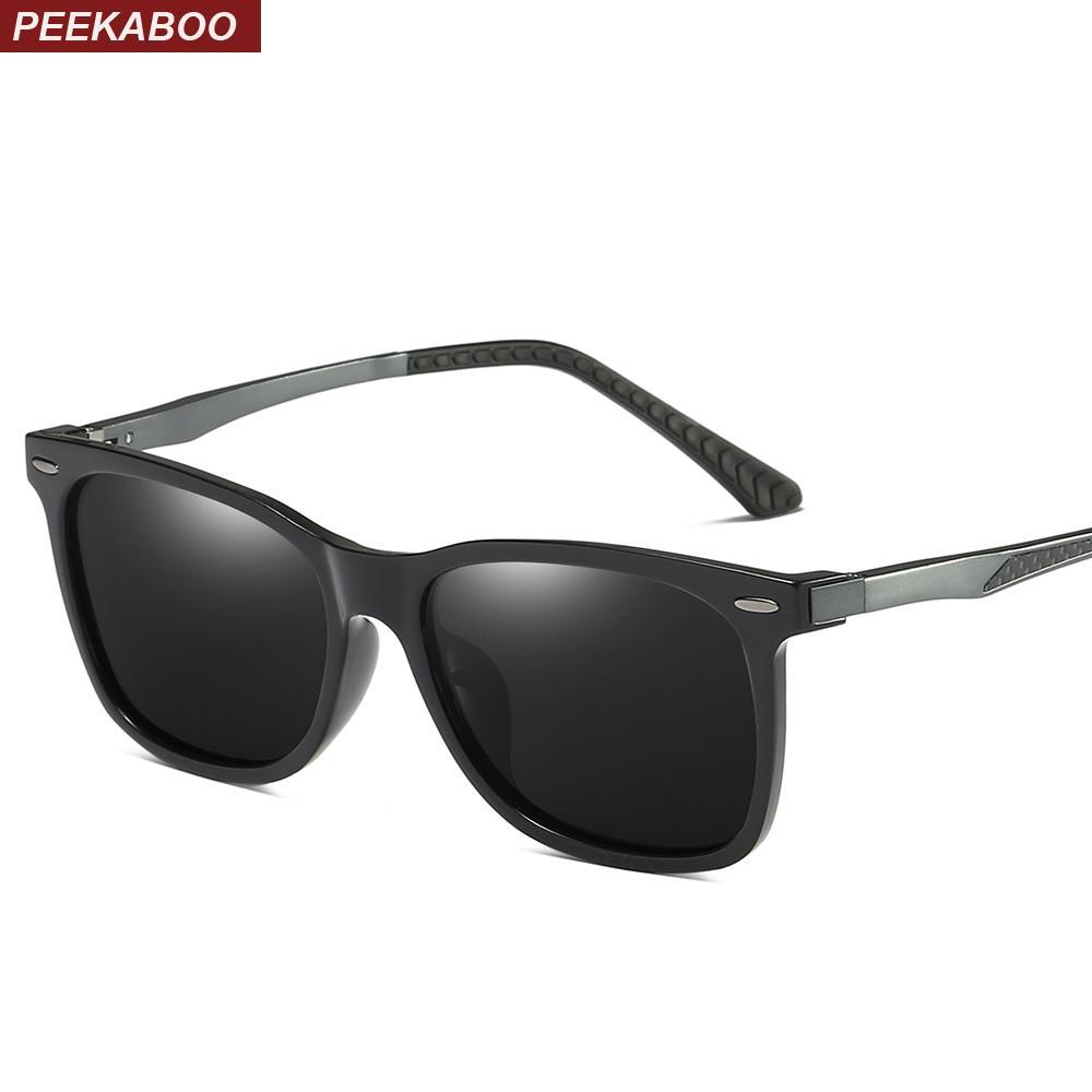 Mate Gafas Azul De Peekaboo Lente Hombres 2019 Espejo Sol Conducción Polarizado Alta Calidad Negro Para Uv400 IDHE29