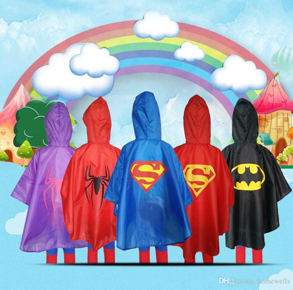 2018 7 Style New Kids Superhero Raincoat Rain Coat Chidre Raincoats Rainwear Rainsuit Kids Waterproof Party Birthday Cosplay