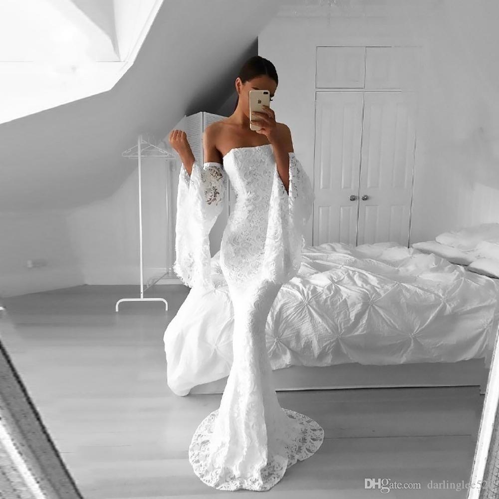 Mermaid Wedding Dresses Vestido de novia Strapless Poet Long Sleeve Lace Floor Length 2019 Beach Wedding Gowns Bridal Dress Robe de Marriage