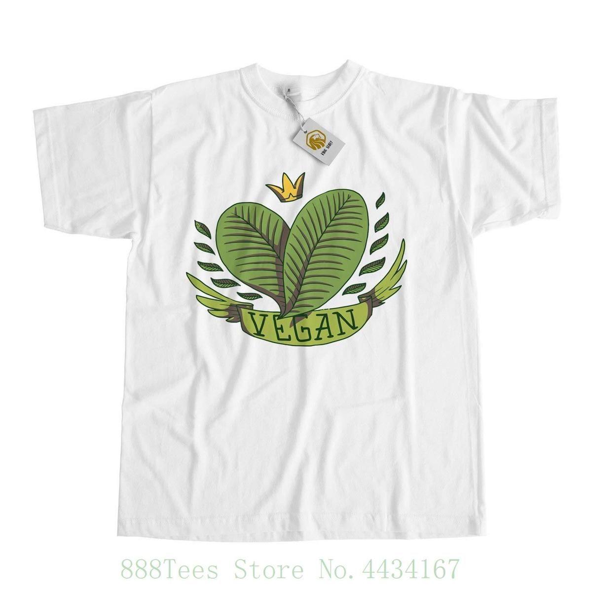 Compre Estilo De Vida Vegano Camiseta Con Hojas Y Corona dcea57c55c5
