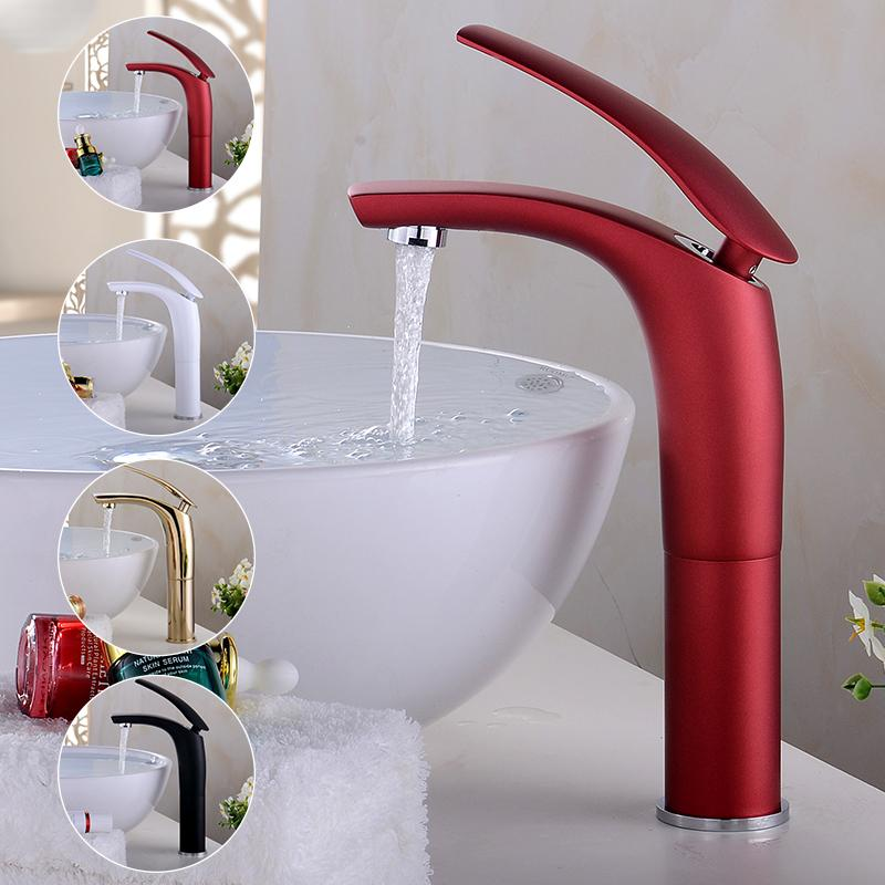 Großhandel Wasserhahn Bad Wasserhahn Schwarz Weiß Rot Gold