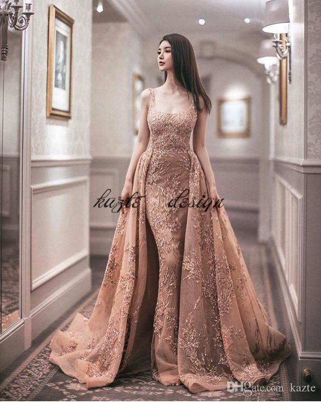 2018 Blush Peach Zuhair Murad prom Dresses With Detachable Skirt Square Applique Beads Sequins Sweep Train Sleeveless Dress Evening Wear