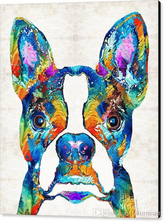 Giclee colorido boston terrier perro pop sharon cummings sharon cummings pintura al óleo artes y lienzo decoración de la pared