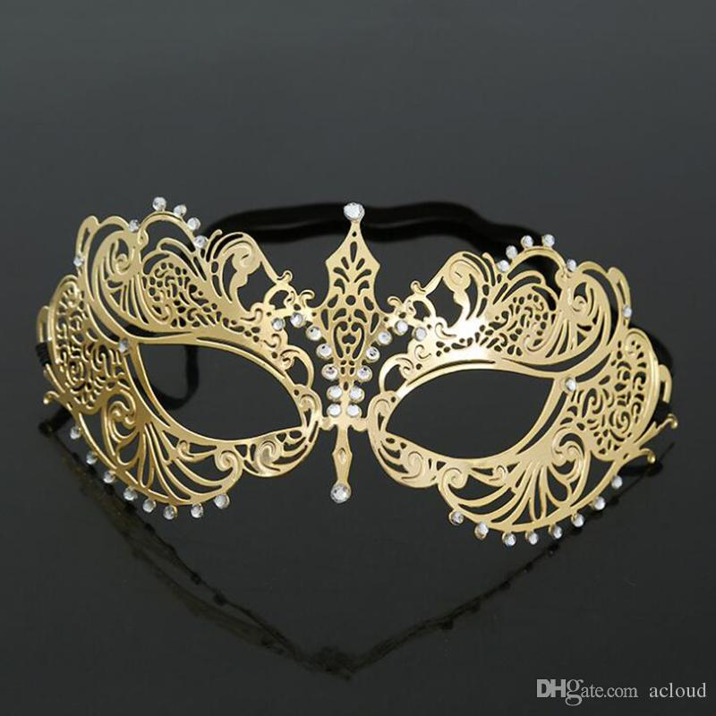 Explosive metal diamond iron mask Masquerade half-faced small pointed mask Party mask blindfold Festival supplies for men and women