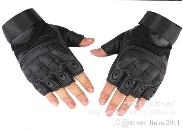 Brand New outdoor tactical half finger Super fiber leather glove for Rock climbing mountaineering real CS camping