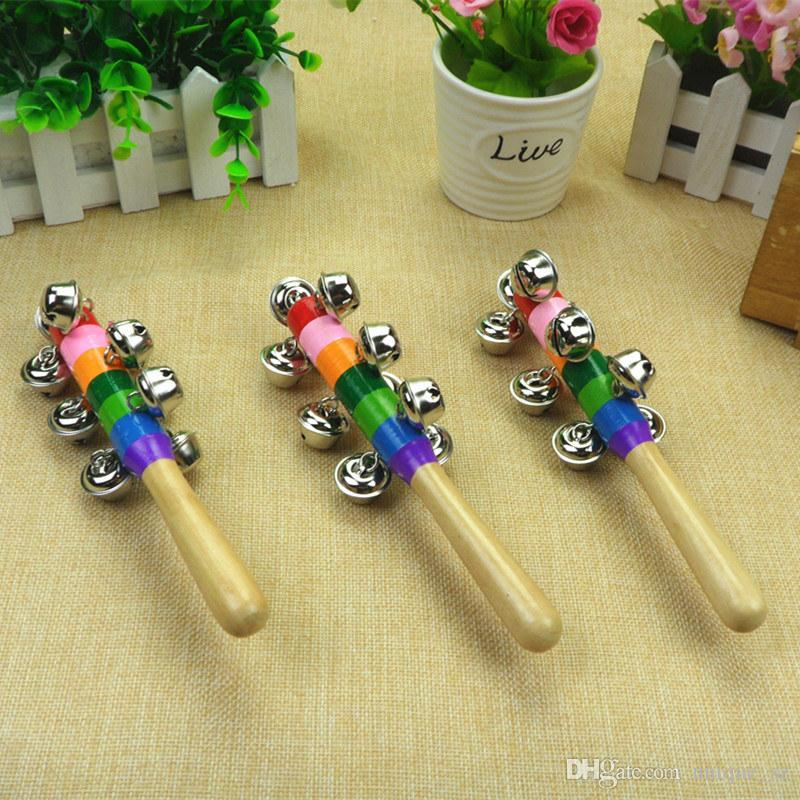 Direct Sale Rainbow Baby Rattle With 10 Bells Wooden Handle Bright Color Ring Ring Sound Toy for little baby Christmas Gift DHL Free