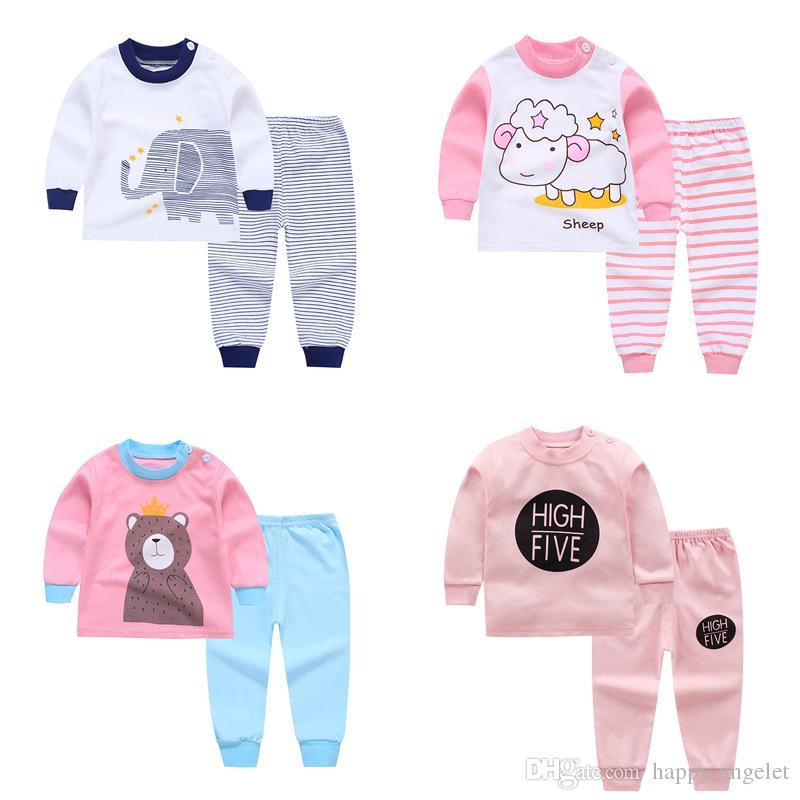 f0b828fb7 Compre Crianças Conjuntos De Pijama Do Bebê Da Menina Do Menino Roupas De  Algodão Impressão Doces Sonhos Pijamas Meninos Meninos Meninas Dos Desenhos  ...
