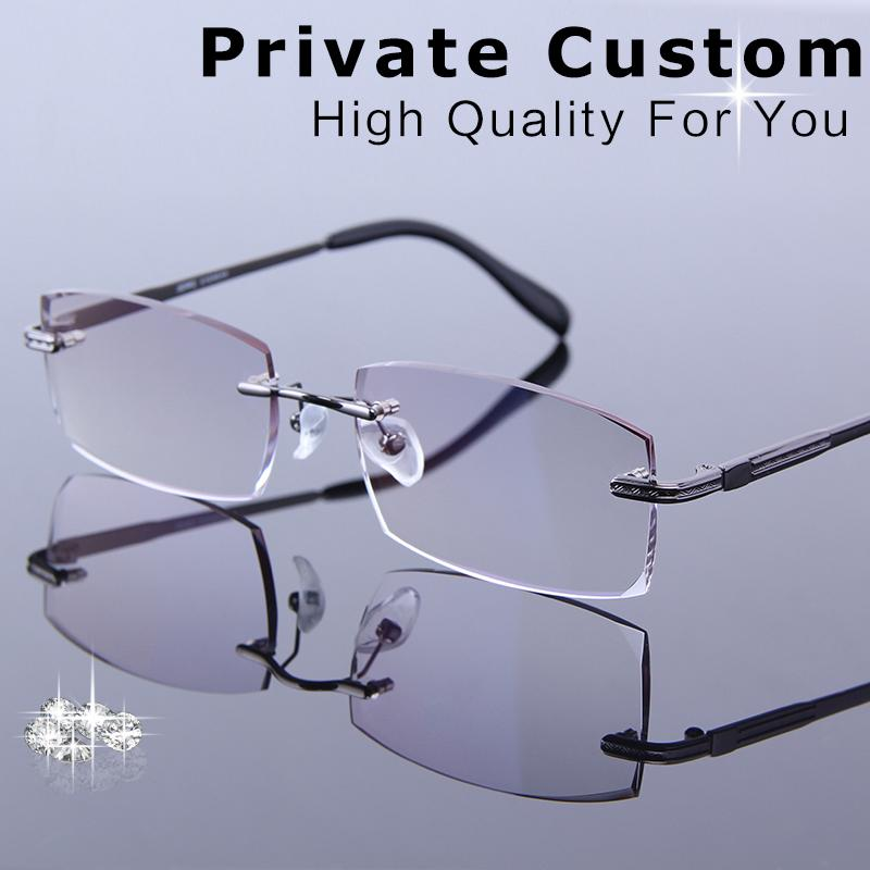 2801a58d80b 2019 New Customrized Korean Reading Glasses Men Rimless Frames For Progressive  Glasses Male Prescription Spectacle For Presbyopia From Tiebanshao