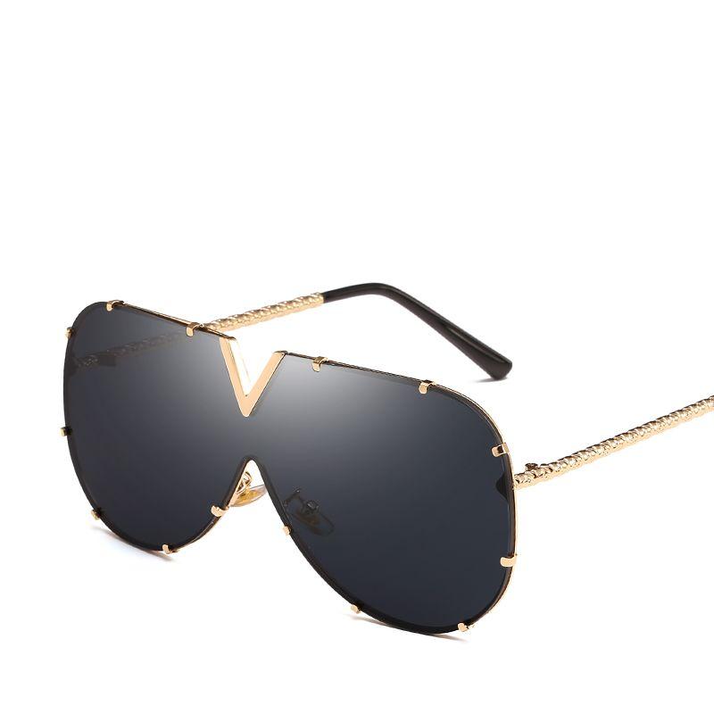 2383ba72e9 Ladies Sexy Oversized Sunglasses Women New Designer Big Frame Rivet Mirror  Metal Sun Glasses Women Shades Men Windproof Eyewear