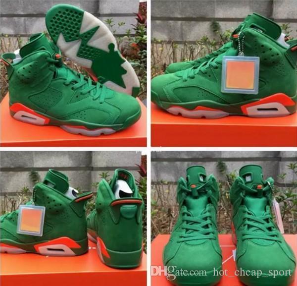 de0b6d6b659 2018 NRD Gatorade Green White Orange 6 VI Suede 384664 145 Basketball Shoes  For Men 6s Mens Sports Sneakers With Original Box Size 8 13 Shoes For Men  ...