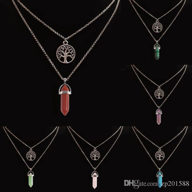 Doppelte Kette Halskette Lebensbaum Hexagonal Prisma Halsketten Edelstein Stein natürlichen Kristall Quarz Heilpunkt Chakra Stein Kugel Halskette