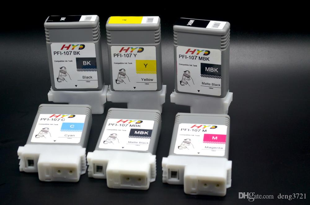 6 pçs / lote compatilbe PFI-107 tanque de tinta cartucho de tinta para canon IPF780 IPF680 IPF685 IPF785 impressora