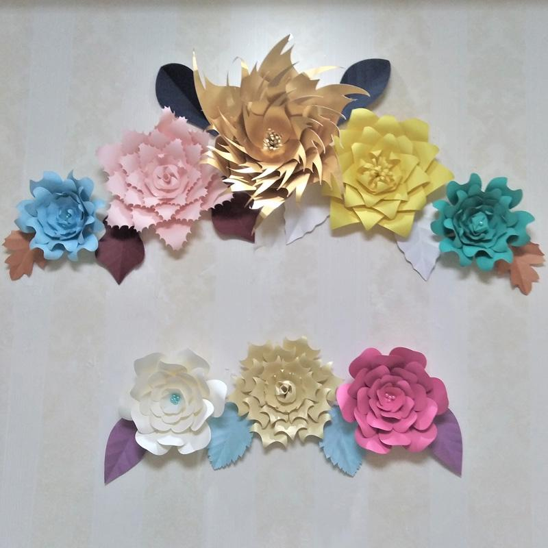 2018 Diy Giant Paper Flowers 8pcs Leaves 12pcs For Wedding Backdrops Living Room Wall Deco Baby Nursery Video Tutorials Mix Size