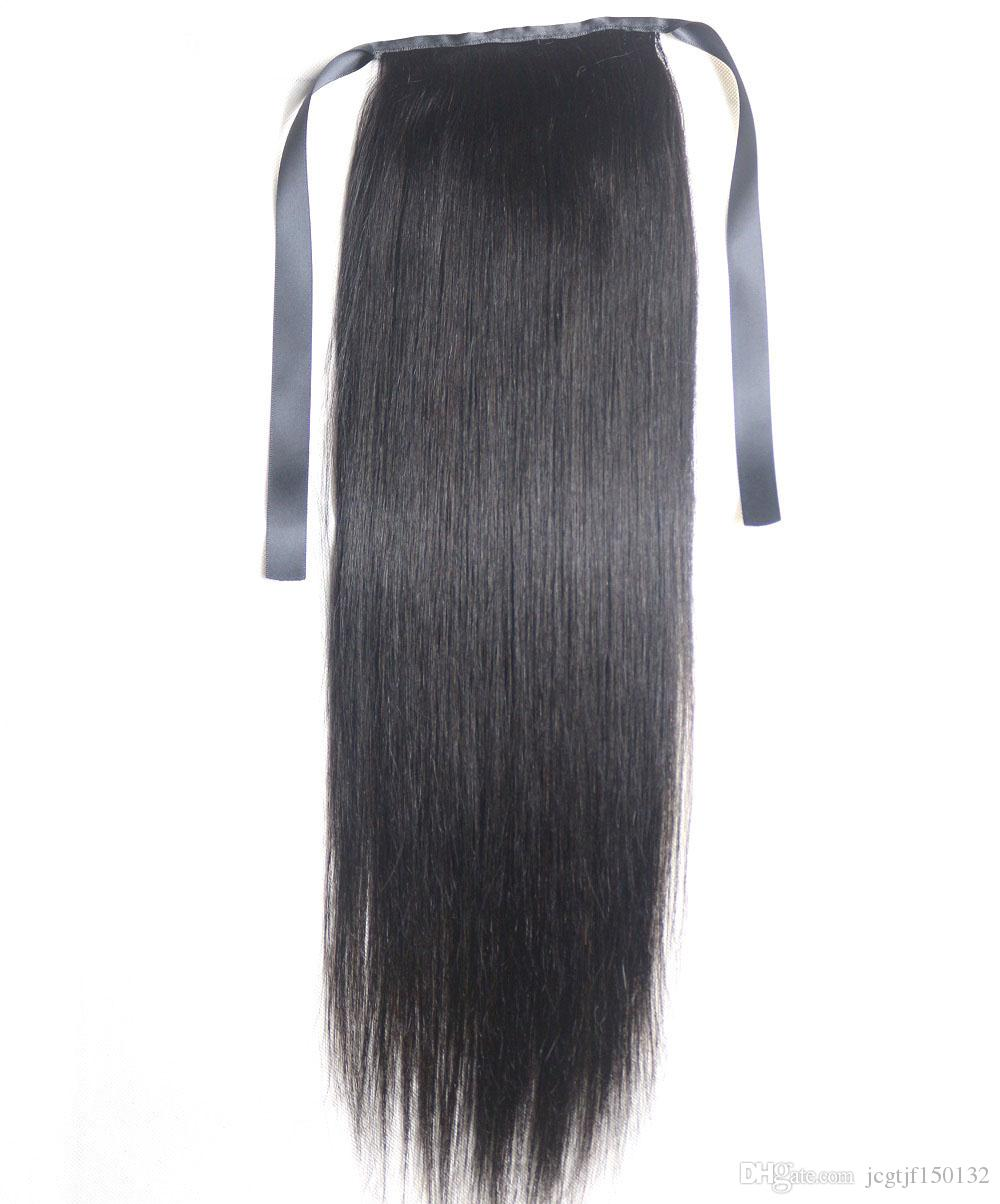 Наращивание хвостика Kinky Straight For Women 100 г Цвет # 1B Натуральный черный 100% натуральные волосы Remy PonyTail Extensions 60 г 16