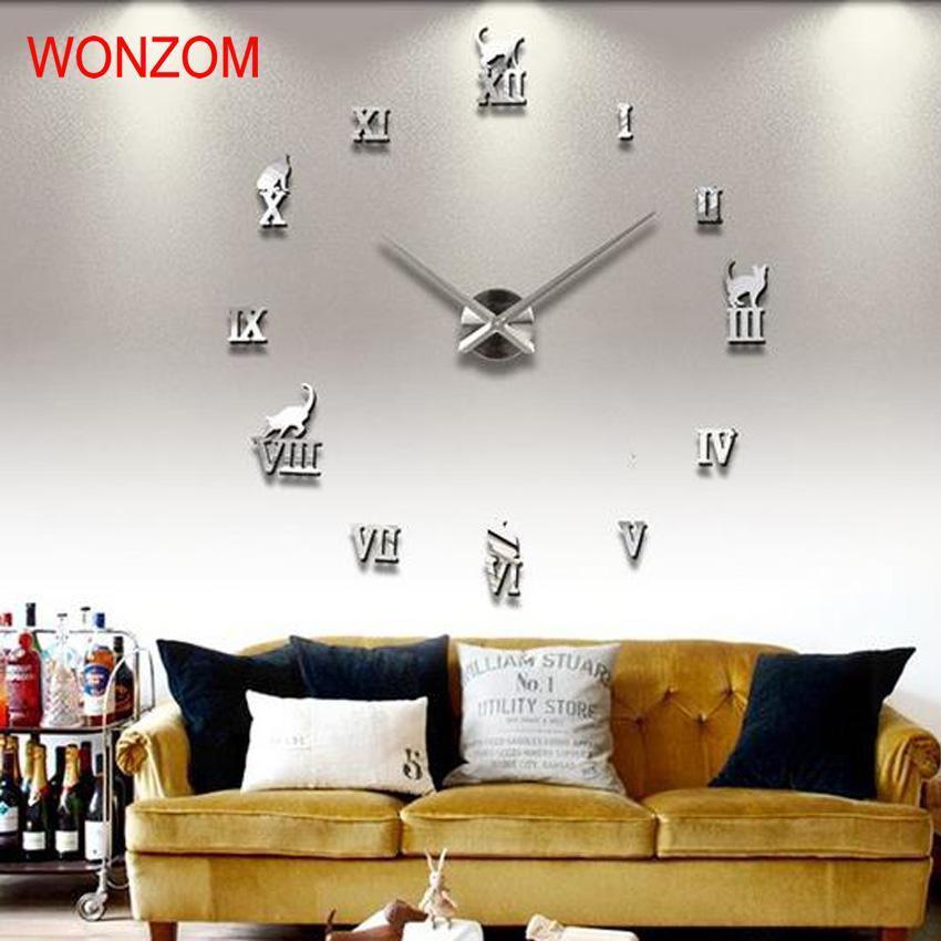 Compre comercio al por mayor gato 3d gran reloj de pared espejo pegatina diy animal reloj Relojes de decoracion