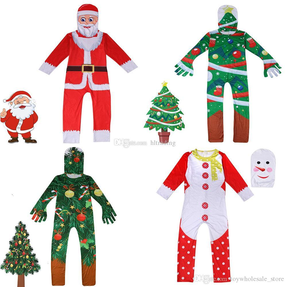 Baby girls boys Christmas tree snowman Santa Claus romper children Xmas cosplay Jumpsuits Spring autumn Boutique kids clothes with hat C5456