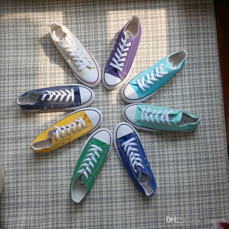alle Größe 35-46 neue Art und Weise Segeltuchschuhe Männer Frauen große Kinder Jungen und Mädchen beschuht niedrig hohe unisex Turnschuhe Schuhe Geliebte Weihnachtsgeschenk 15 Farben