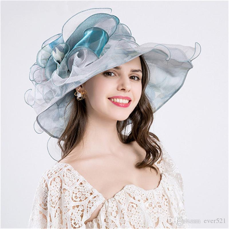 63ffecf0c5b 2018 Pink Blue Beach Caps Autumn Hats For Women Elegant Fascinators Bridal Hat  Ladies Fashion Flower Hair Accessories Chapeau Mariage Hat Store Fedora Hats  ...