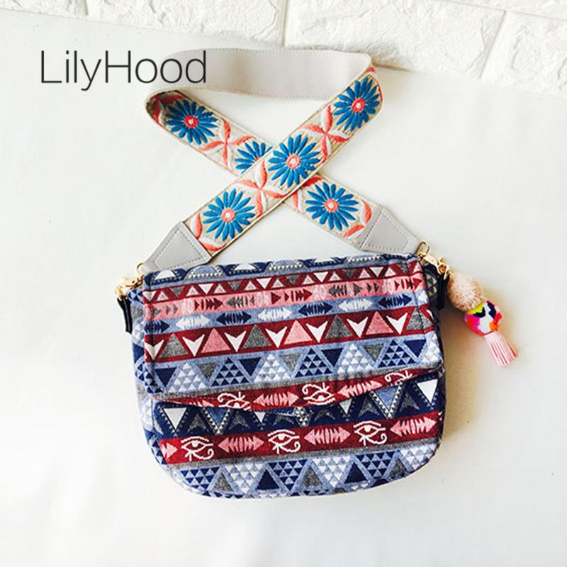 LilyHood Handmade Women Casual Fabric Shoulder Bag Leisure Bohemian Boho  Gypsy Chic Embroidery Wide Strap Festival Crossbody Bag Leather Purse  Womens Purses ... ec61c33862931