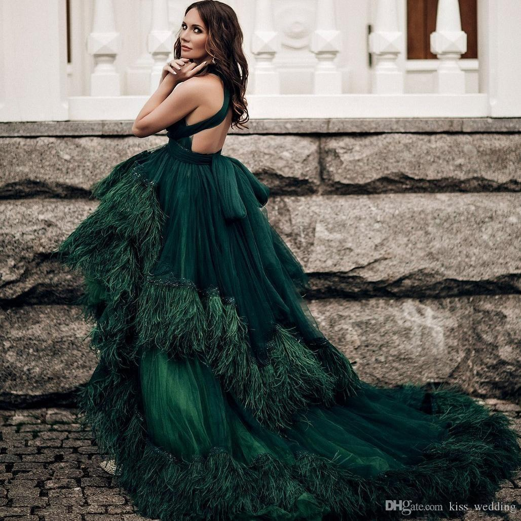 New Dark Green Feathers Prom Dresses Open Back Hi-Lo Tiered Tulle Formal Dress Evening Wear V-Neck Custom Made Celebrity Cocktail Gowns