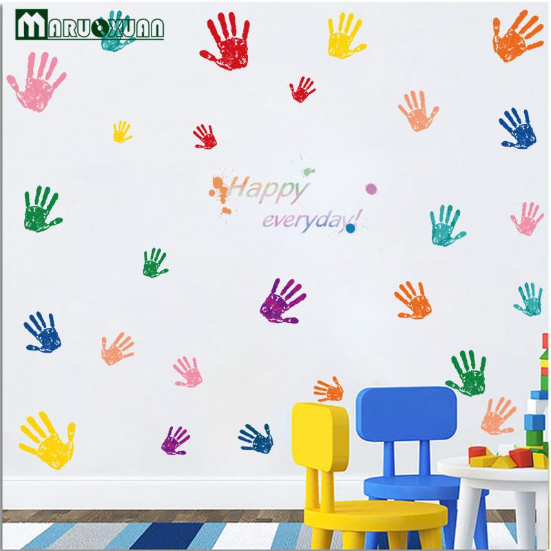 Creative Cute Colorful Fingerprint Kindergarten Children 's Room Primary School Classroom Cartoon Decorative Wall Stickers