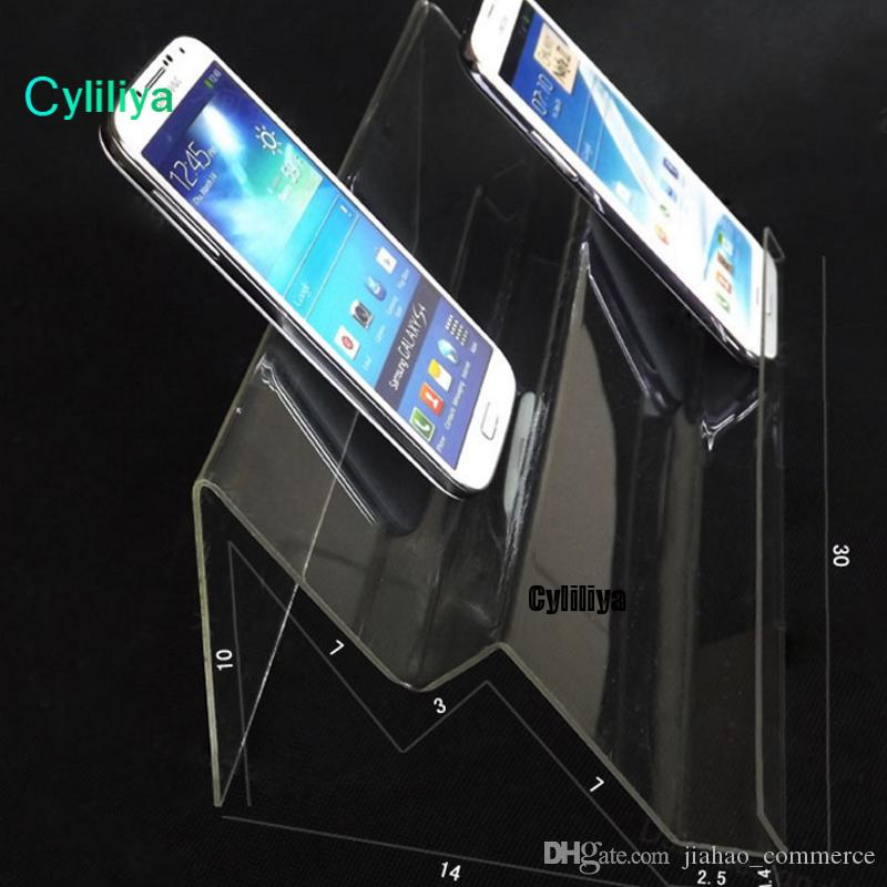 hot sale Clear Acrylic Double layer long shelf Mobile cell phone display stand Multi-purpose type for universal
