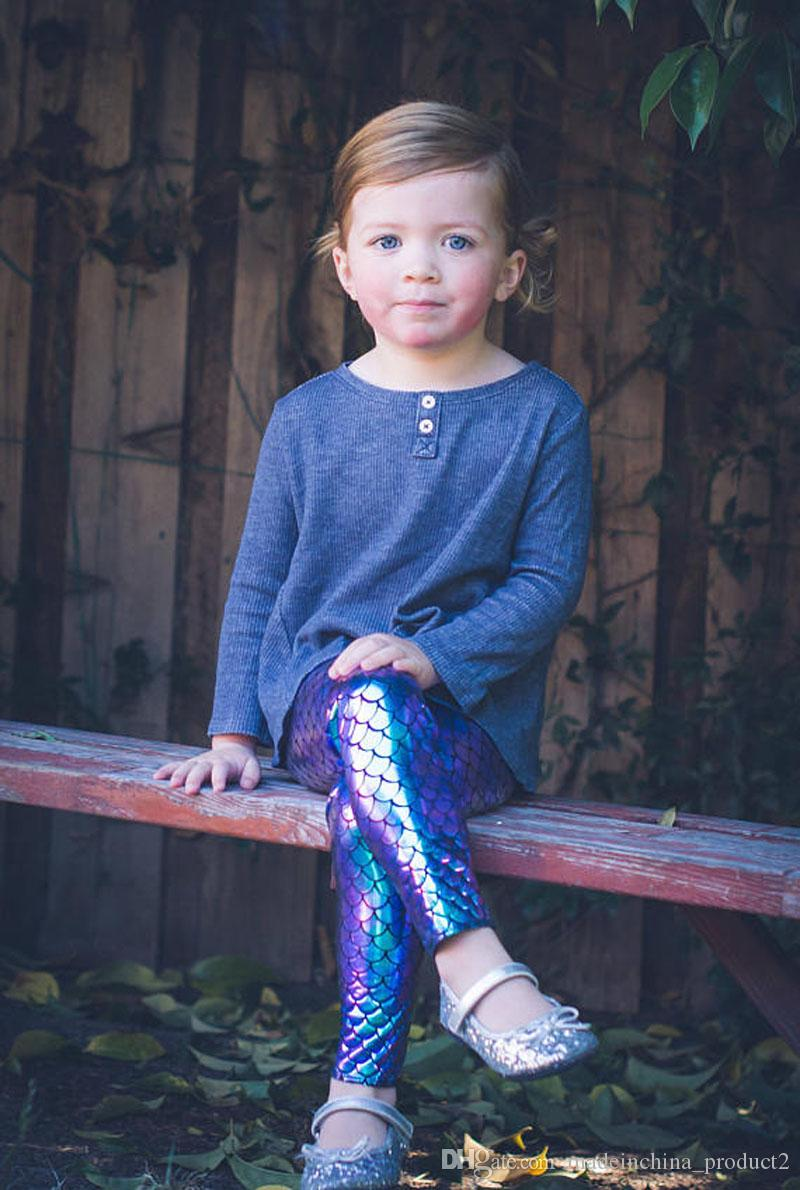 Girls Kids Mermaid Cute Pants Baby Colorful Digital Printing Child Leggings Pant Mermaid Fish Scale Shiny Pants
