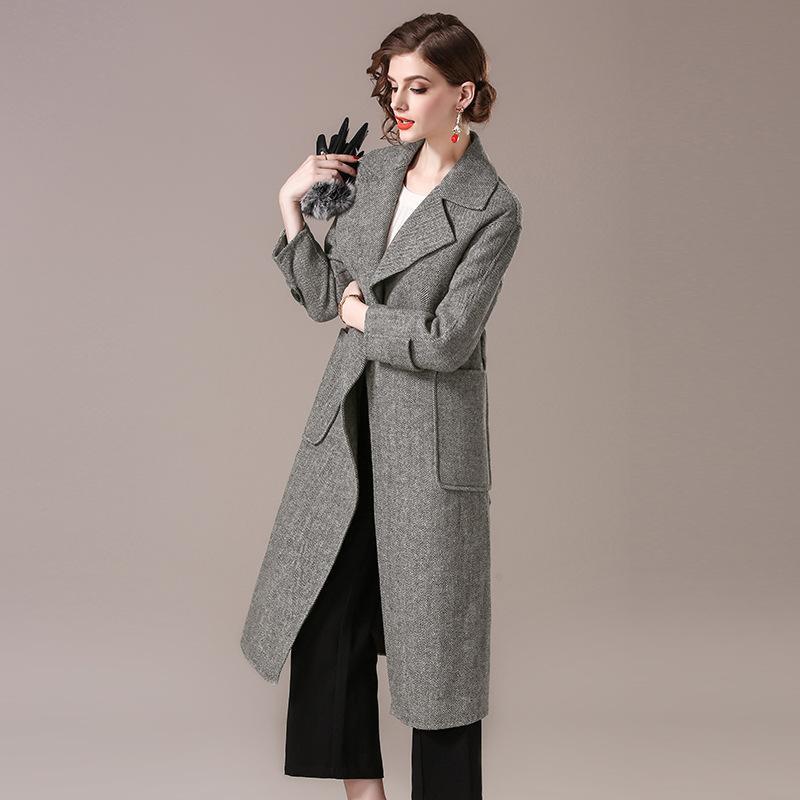 Großhandel British Style Frauen Wolle Langen Wollmantel Herbst